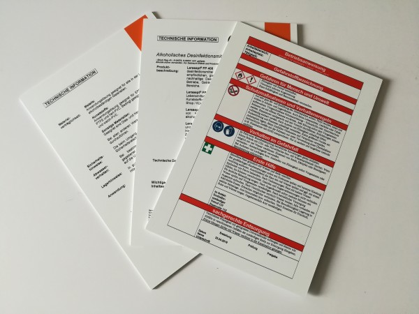 Hartschaumplatte bedruckt mit Ihren Betriebsanweisungen, Richtlinien, Sicherheitsdatenblätter etc.