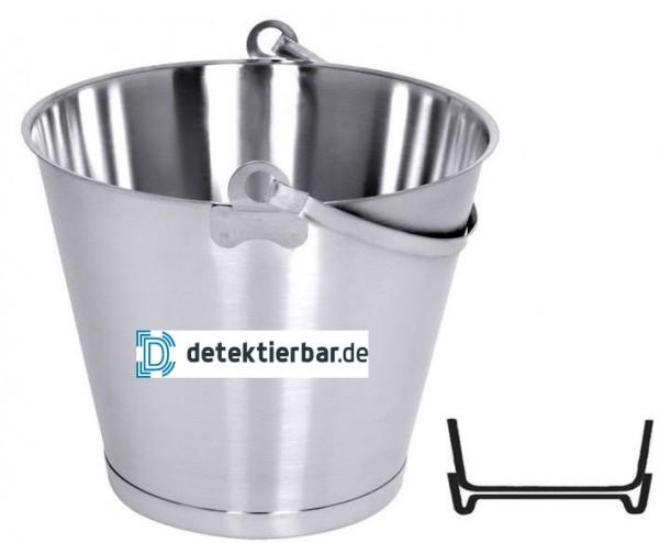 12 Liter Edelstahl Eimer SÄUREFEST Bodenreifen Ø32cm Höhe 27cm