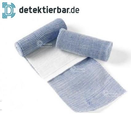 Blaue Bandage 6cm x 4m, Mullbinde mit Kompresse (nicht detektierbar)