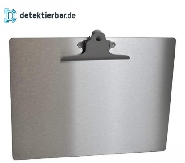 Klemmbrett / Schreibplatte aus Edelstahl detektierbar Querformat A4 Clipboard