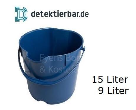 Eimer aus detektierbarem Kunststoff Kunststoffeimer detektierbar 15 & 9 Liter Rundbehälter mit Büge